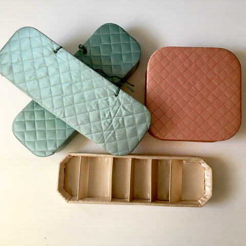 Quilted satin dresser storage set of 4 - vintage lingerie storage