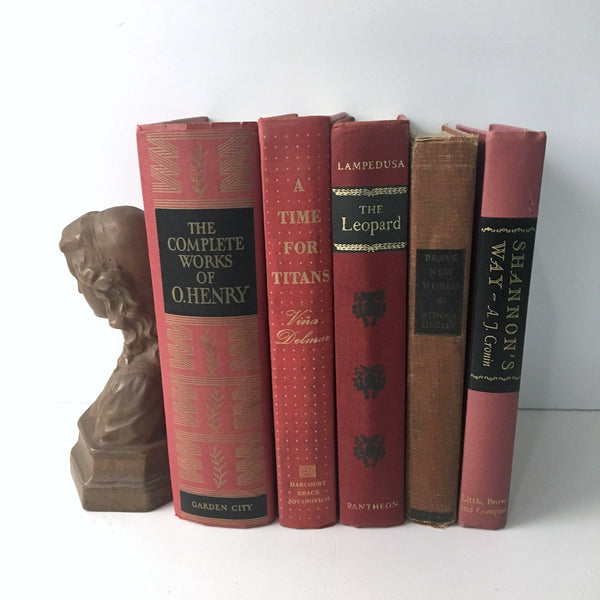 Decorative book stack - shades of red - vintage book decor - NextStage Vintage