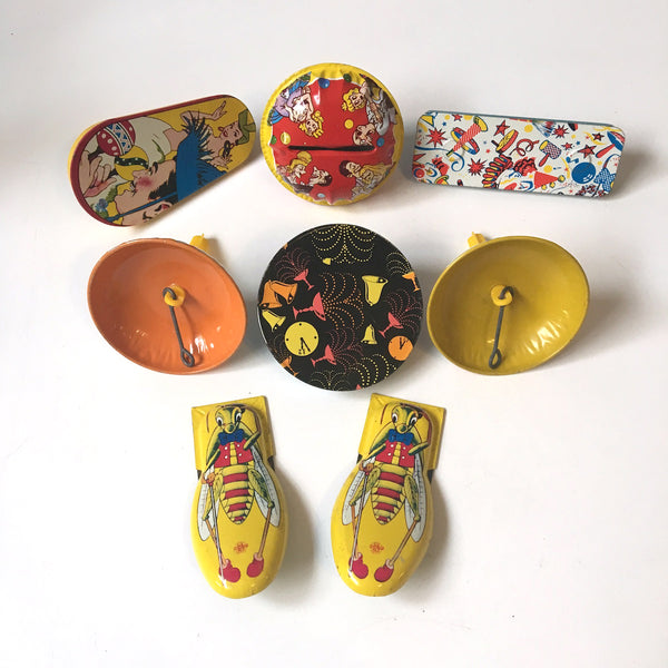 Litho noisemaker assortment - 8 party favors- 1960s vintage - NextStage Vintage