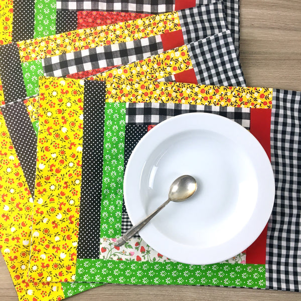 Patchwork and gingham placemats - set of 4 - 1970s vintage table linens