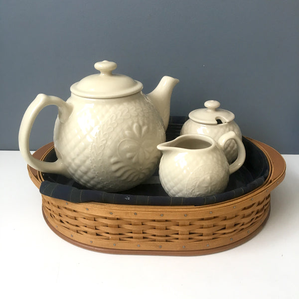 Longaberger Collector's Club American Craft tea set with oval tray - made in USA -2004