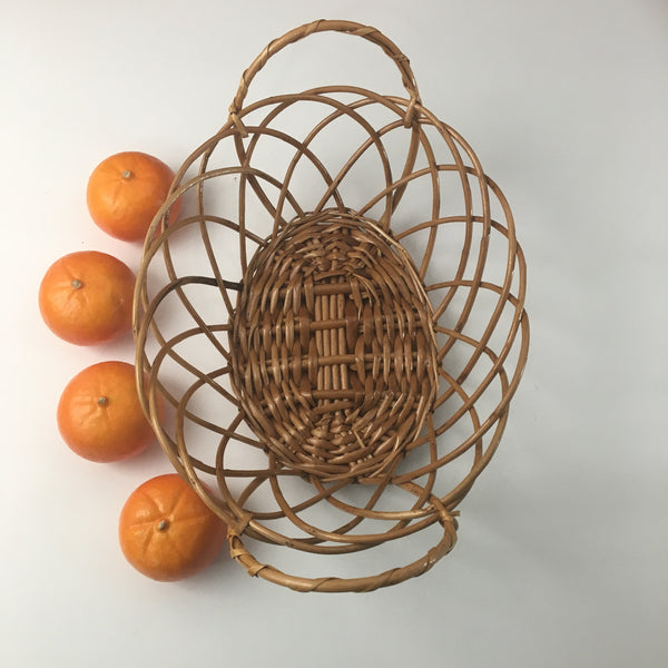Loopy edged oval basket - open woven handled basket - 1970s vintage - NextStage Vintage