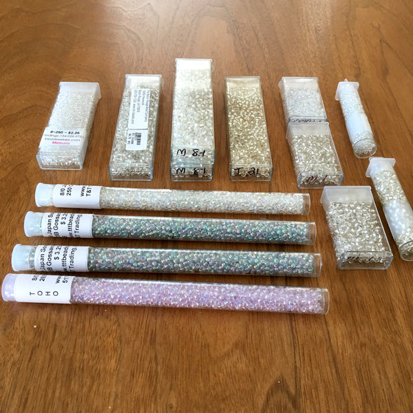 Seed bead 8/0 lot - shades of white, luster and iridescent - 14+ tubes - destash - lot 683 - NextStage Vintage