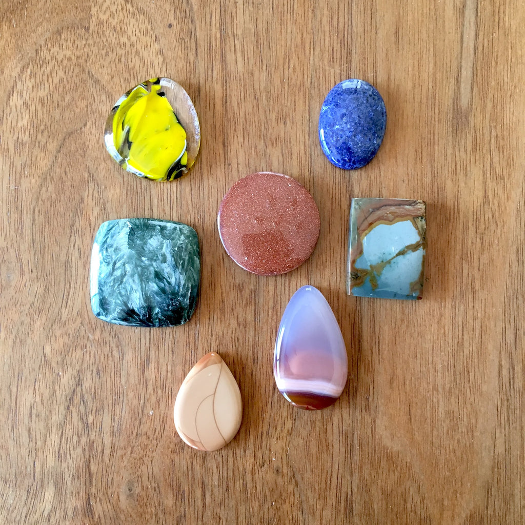 Mixed gemstone and glass cabochon lot of 7 - lot 711 - NextStage Vintage