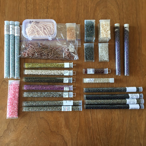 8/0 seed bead lot - 30 containers - mixed colors - lot 734 - NextStage Vintage