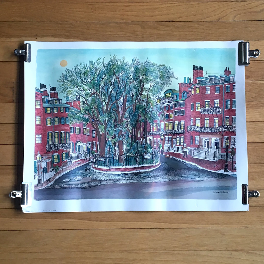 Louisburg Square illustration print by Barbara Westman - 1971 Barre Publishing - NextStage Vintage