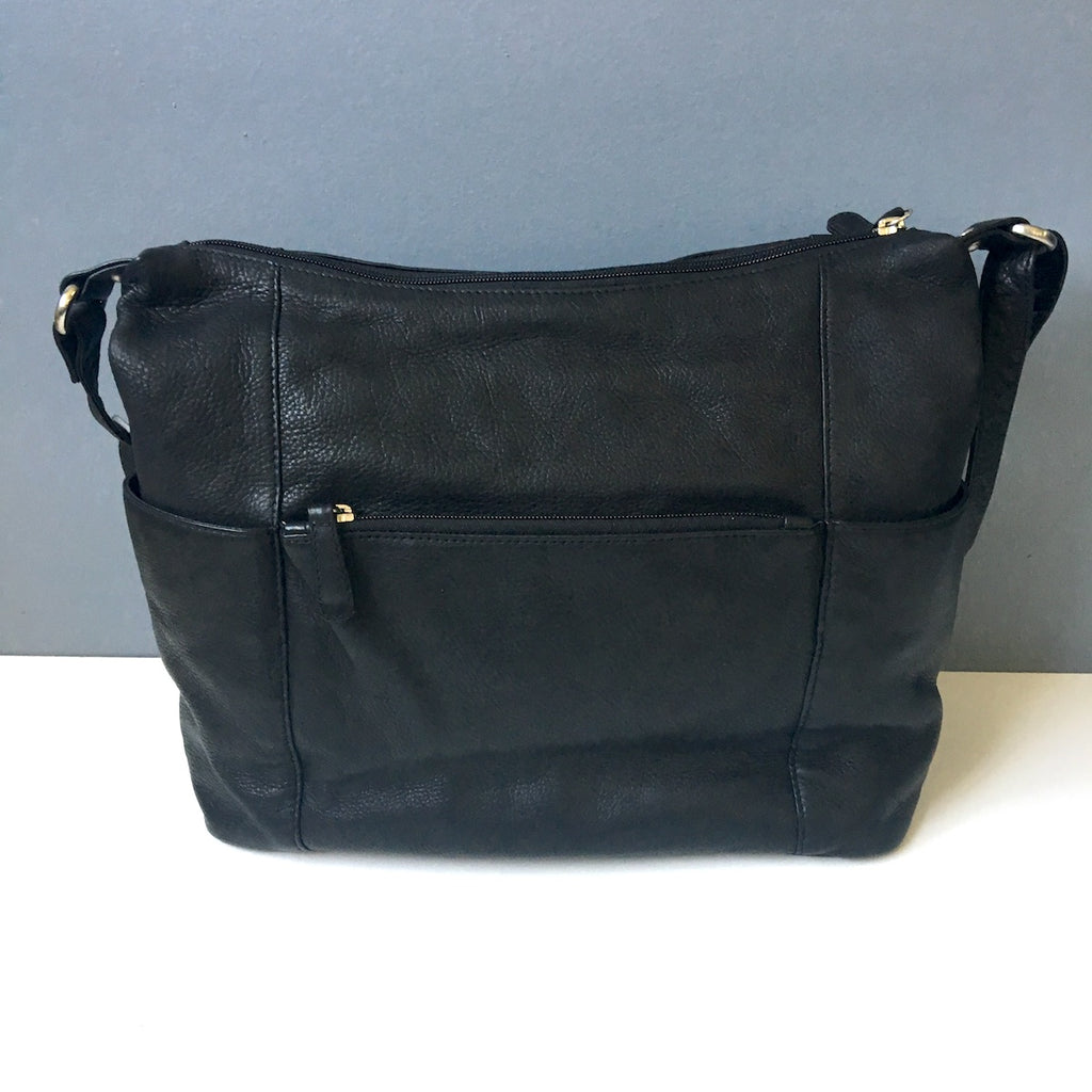 Magellan's RFID black leather travel tote - classic travel accessory - NextStage Vintage