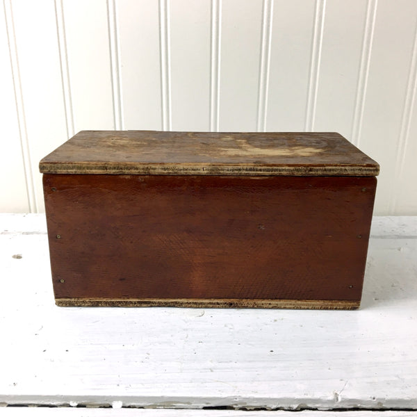 Wooden made-do box from the 1920s - handmade from a cheese box - NextStage Vintage