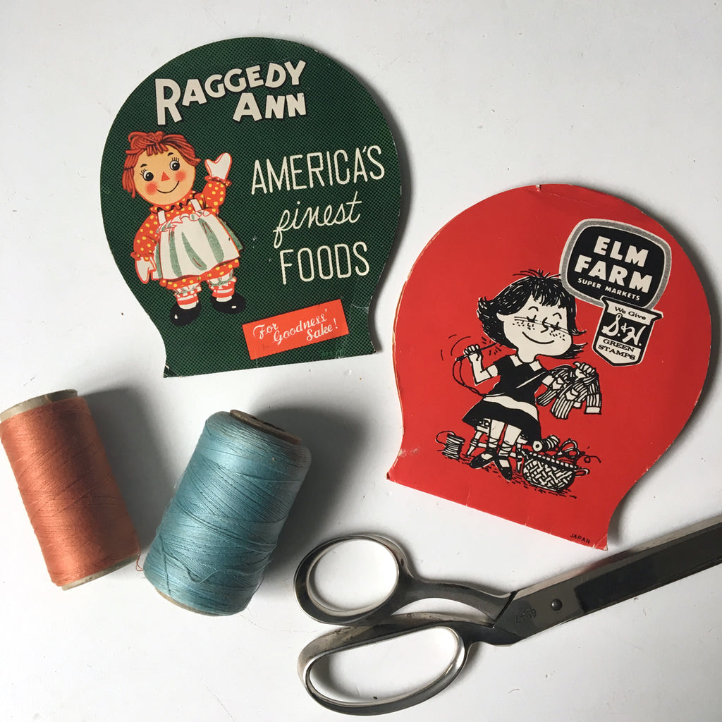 Elm Farm and Raggedy Ann supermarket needle books - a pair - vintage sewing - NextStage Vintage