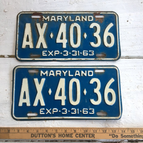 1963 Maryland automobile license plates - a pair - number AX-40-36 - NextStage Vintage