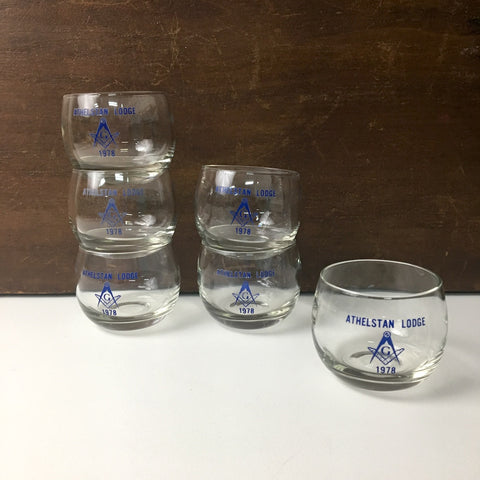 Masonic Lodge roly poly glasses - Athelstan Lodge - set of 6 - 1970s - NextStage Vintage