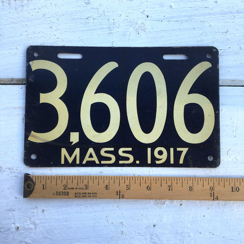 1917 Massachusetts automobile license plate - number 3606 - NextStage Vintage