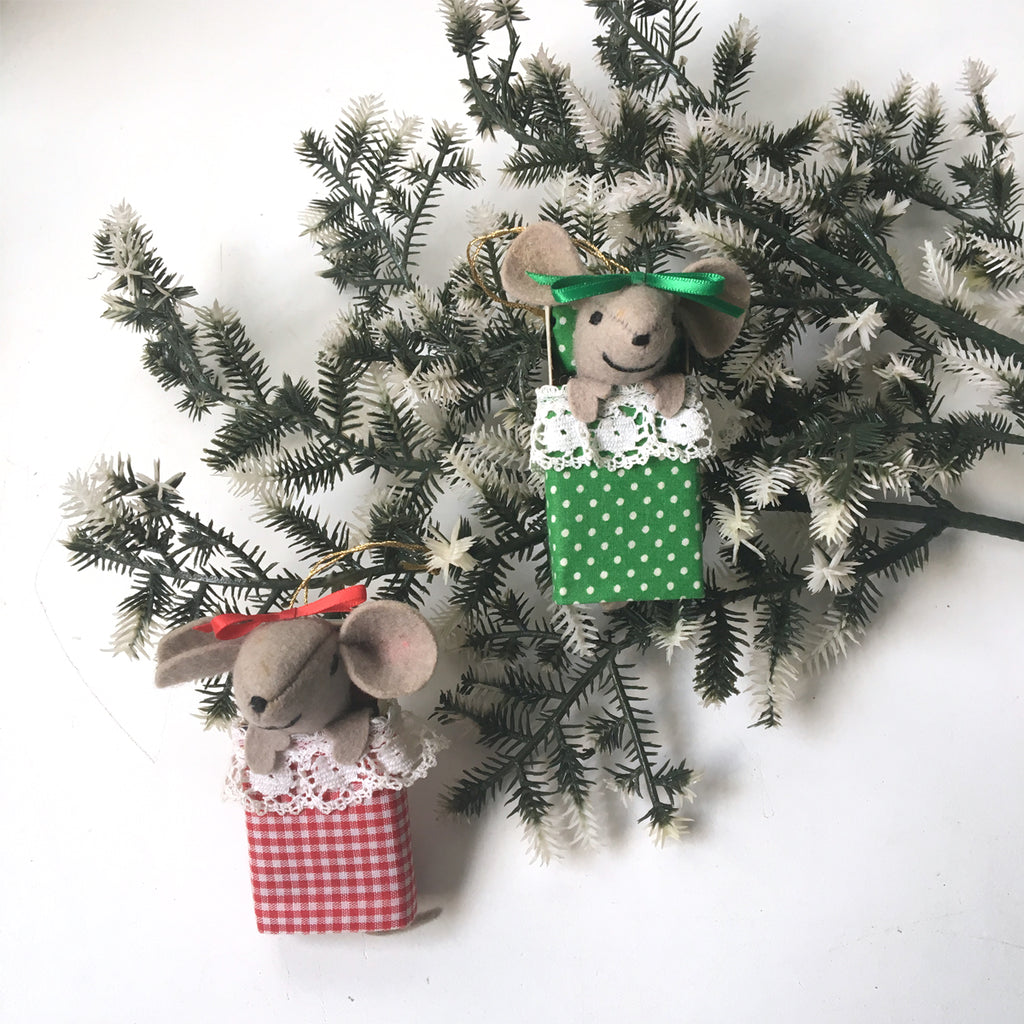 Mice in matchbox beds - set of 2 vintage 1970s Christmas ornaments - NextStage Vintage