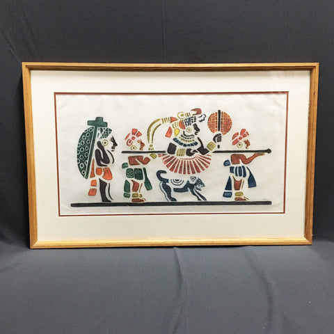 Mayan procession - signed stenciled or block printed art - 1970s statement art - NextStage Vintage