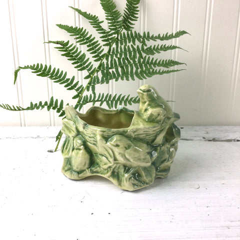 McCoy birds and nest planter - 1950s vintage USA art pottery