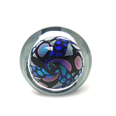 John McDonald dicroic glass paperweight - art glass