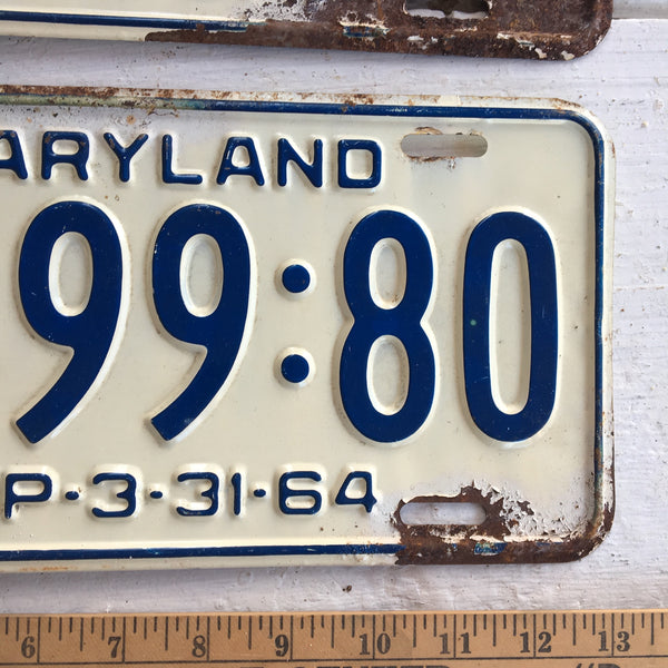 1964 Maryland automobile license plates - a pair - number AF:99:80 - NextStage Vintage