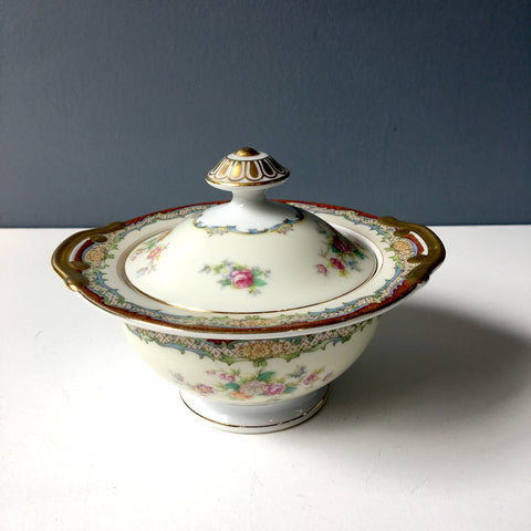 Meito China Marlborough covered sugar bowl - vintage floral china - NextStage Vintage