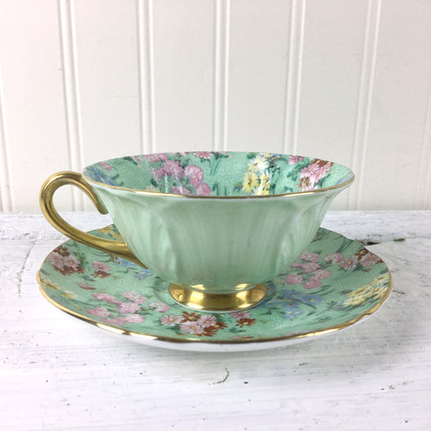 Shelley Melody Chintz oleander shape gold footed teacup and saucer - mint green - NextStage Vintage