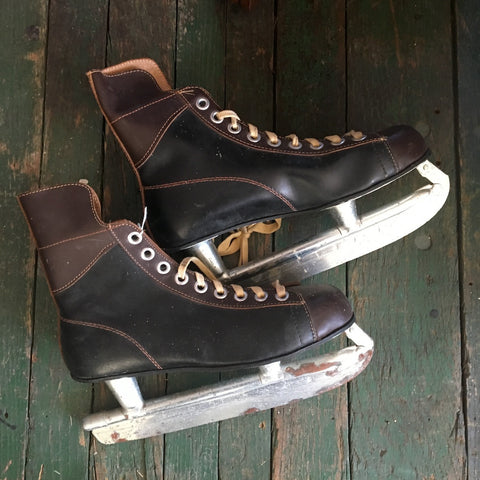 Hockey skates - vintage leather skates for skating or rustic decor - 1970s - NextStage Vintage