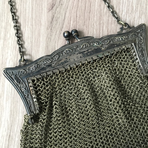 Antique German silver mesh bag - art deco frame - early 1900s - NextStage Vintage