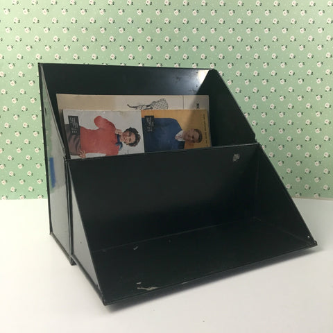 Metal file box for shelf storage - angled flip top - vintage 1950s - NextStage Vintage