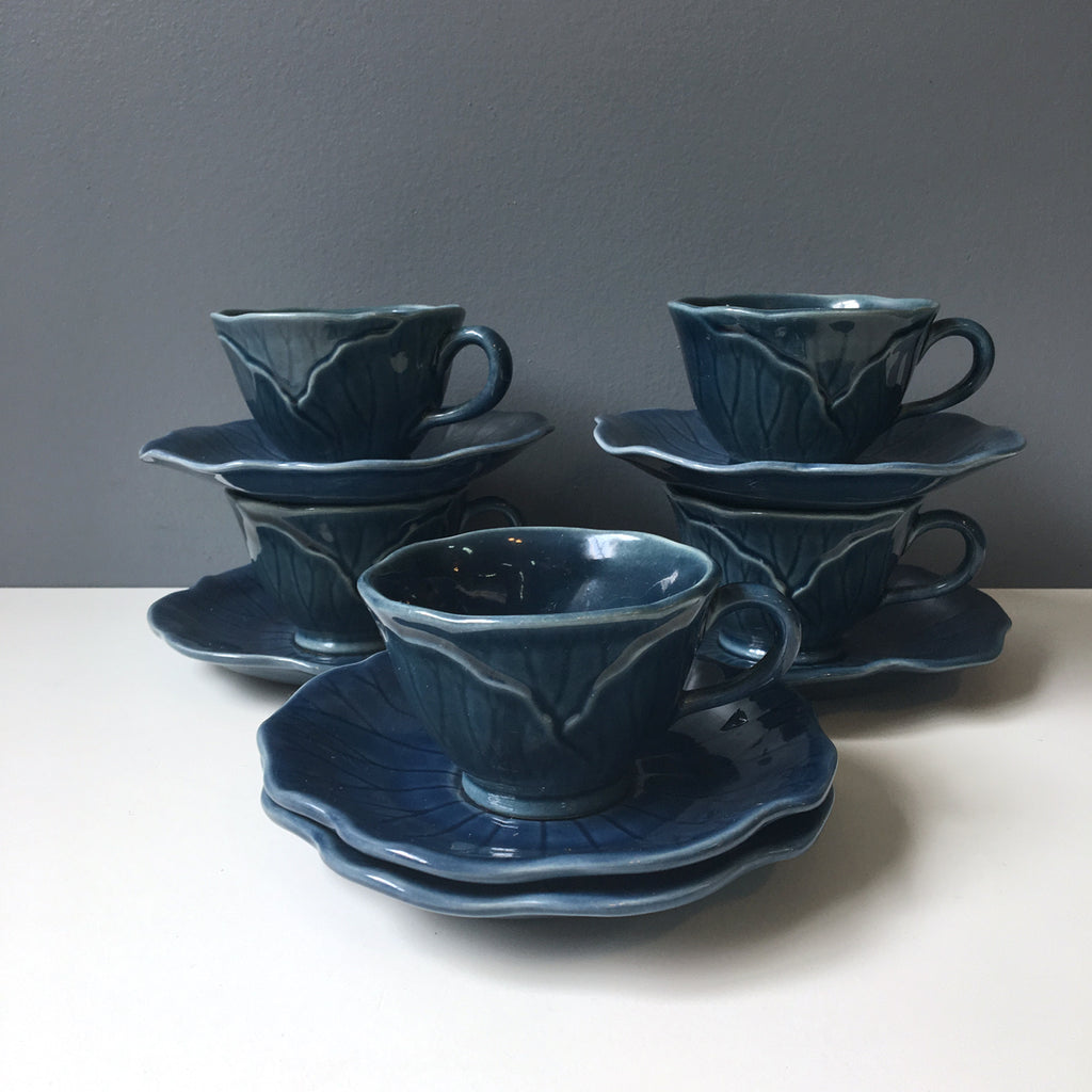 Metlox Lotus medium blue cups and saucers - set of 5 - 1980s vintage - NextStage Vintage