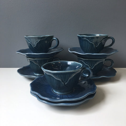 Metlox Lotus medium blue cups and saucers - set of 5 - 1980s vintage