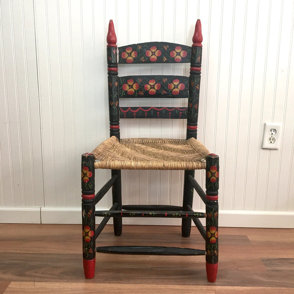Mexican Folk Painted Rush Seat Chair   Vintage Side Chair   NextStage  Vintage