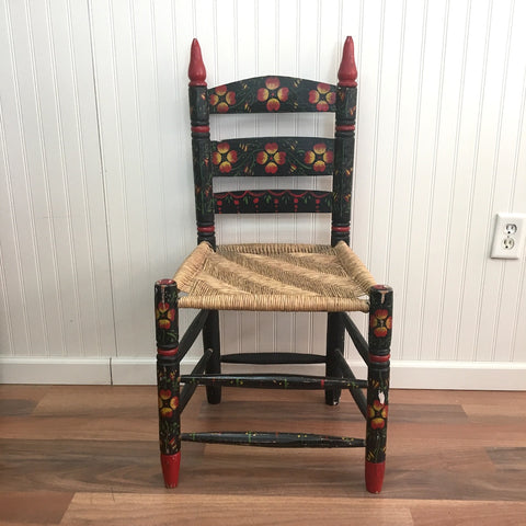 Mexican folk painted rush seat chair - vintage bohemian side chair - NextStage Vintage