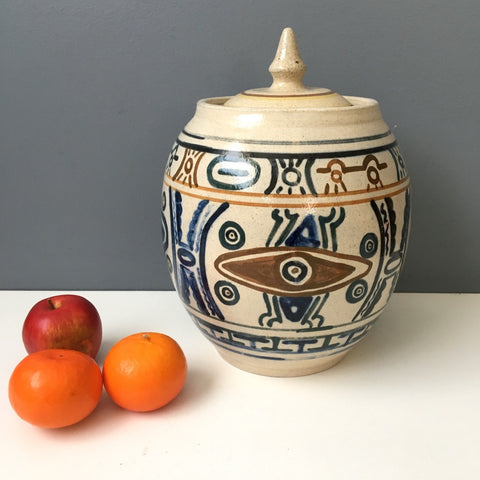 Mexican stoneware cookie jar - vintage bohemian kitchen
