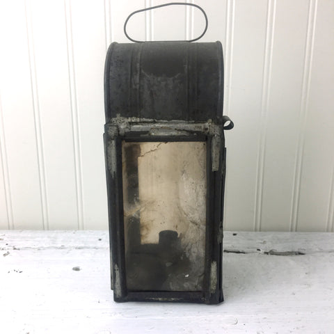 Antique tin and mica panel candle lantern - antique lighting