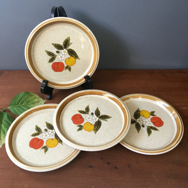 Mikasa Stone Manor Tempting pattern salad plates - set of 4- F5812 - 1970s vintage - NextStage Vintage