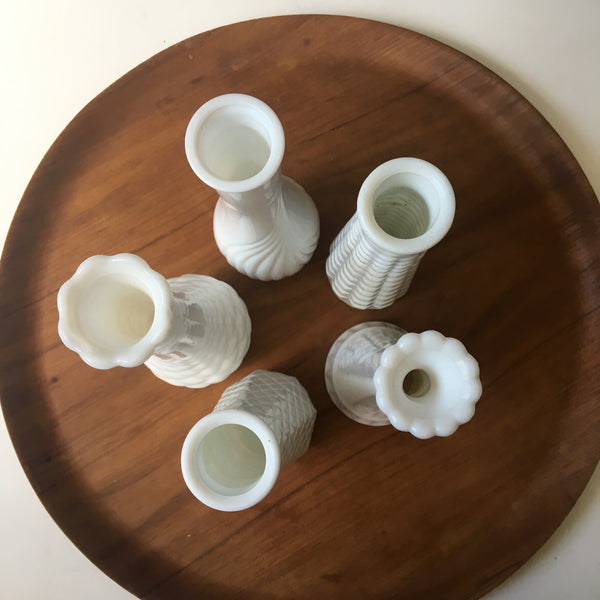 Milk glass bud vases - set of 5 - vintage glass collection - NextStage Vintage