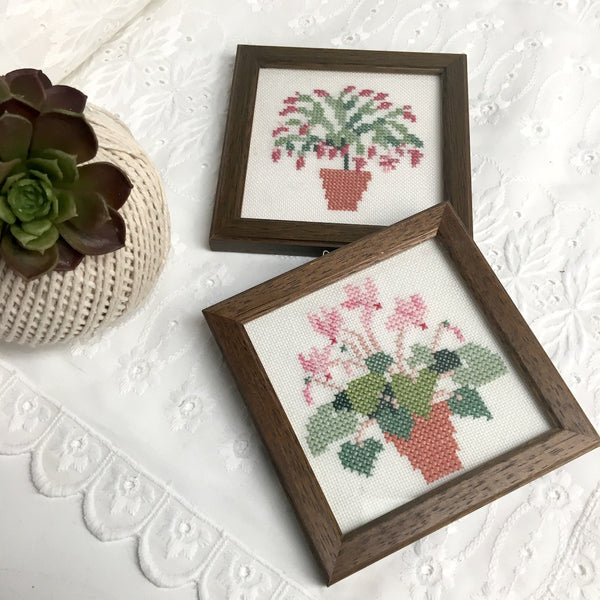 Miniature framed houseplant cross stitcheries  - set of 2 - vintage needlework - NextStage Vintage