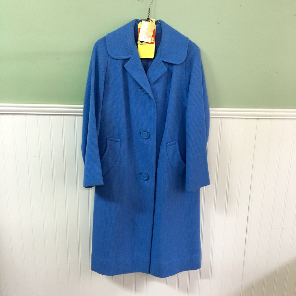 1960s cornflower blue wool coat by Miracle Fit - NWT - size medium