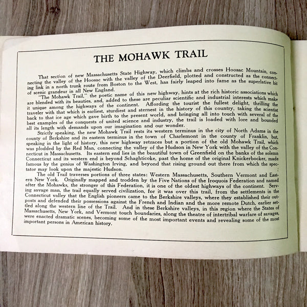 The Trail of the Mohawk - souvenir Mohawk Trail guidebook - 1930s vintage - NextStage Vintage