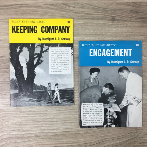 What They Ask About Keeping Company, Engagement by Monsignor J.D. Conway - pair of 1950s Catholic booklets - NextStage Vintage