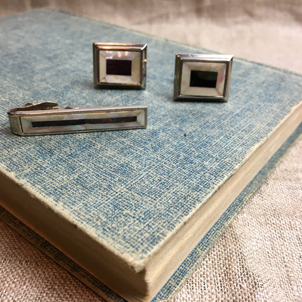 Mother of pearl cuff links and tie clip set - vintage 1980s accessories