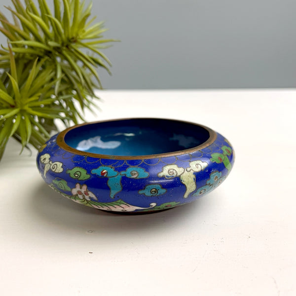 Chinese cloisonee enamel small bowl - moth pattern - vintage Asian decor - NextStage Vintage