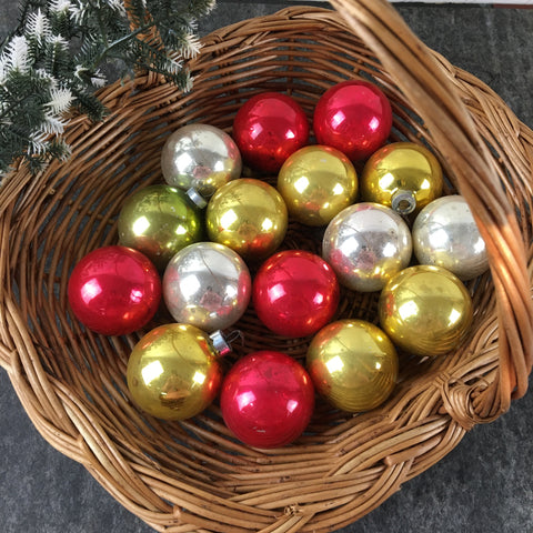 Shabby vintage multicolor glass Christmas balls - lot of 16 - vintage Christmas - NextStage Vintage