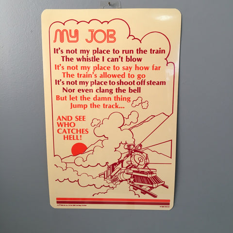 """My Job"" humorous train poster - 1980s kitsch decor - NextStage Vintage"