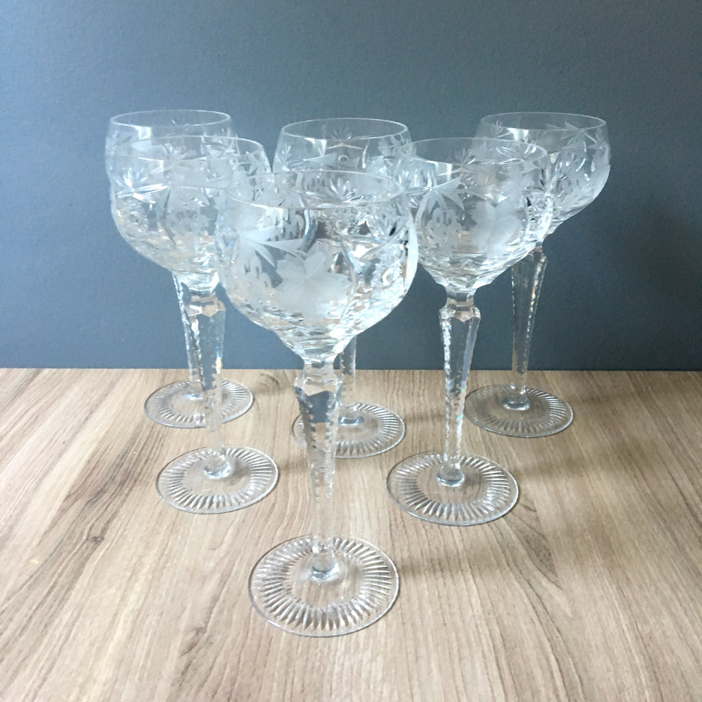 "Nachtmann Traube clear tall wine hock glasses - set of 6 - 8.25"" tall - NextStage Vintage"