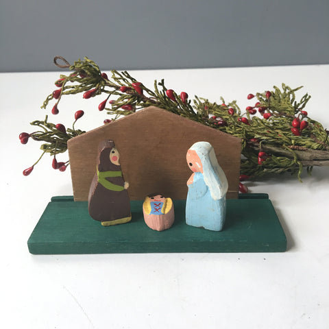 Wooden nativity scene - painted wooden figures - 1970s vintage - NextStage Vintage