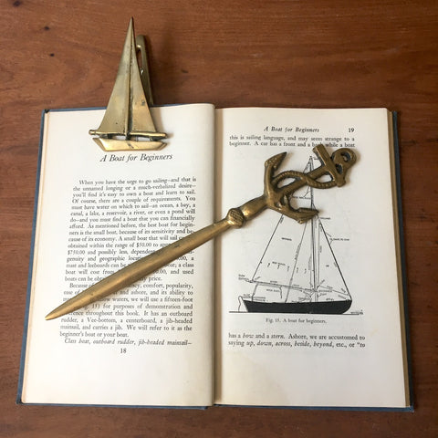 Nautical brass desk set - anchor letter opener and sailboat binder clip - 1970s vintage - NextStage Vintage