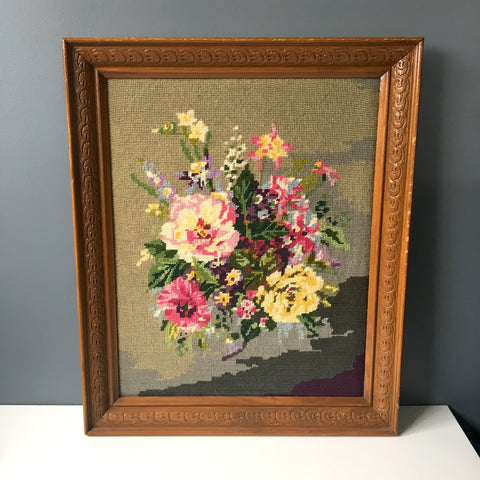 Framed floral needlepoint - columbines, freesia, pansies, ranunculus and more - vintage needlework - NextStage Vintage