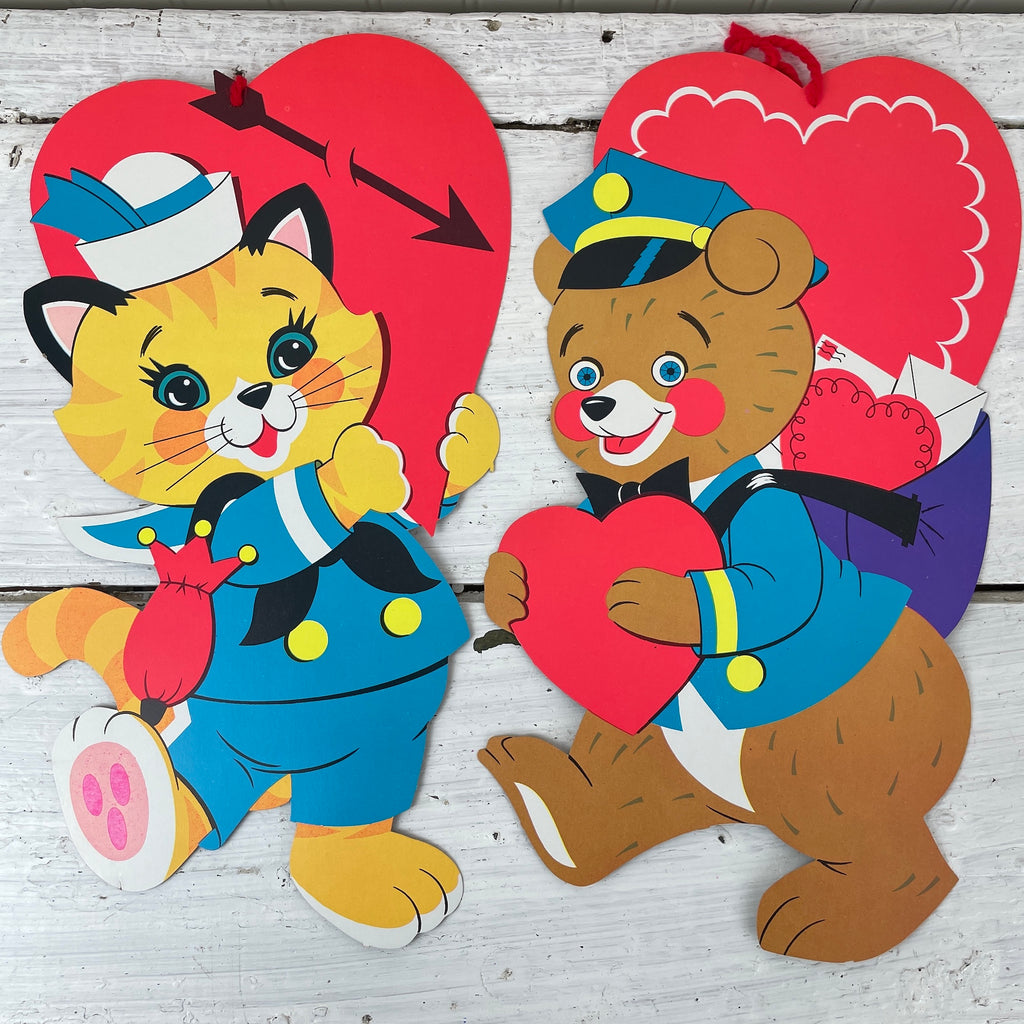 Neon bright valentine die cuts - cat and bear - 1960 vintage - NextStage Vintage