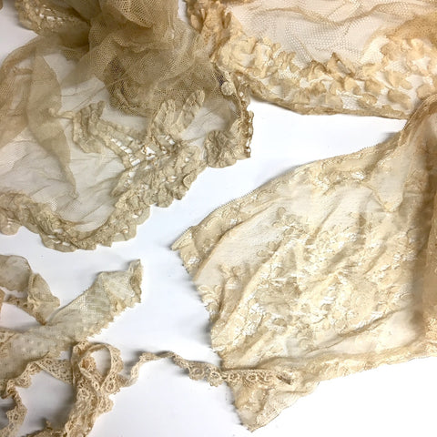Antique / vintage tulle netting lace 5 piece assortment - vintage destash - NextStage Vintage