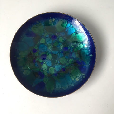 "Win Ng enamel on copper bowl - 7 5/8"" - San Francisco - 1960s vintage"