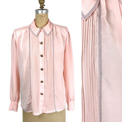 1980s blush pink power blouse by Nicola - size medium - NextStage Vintage